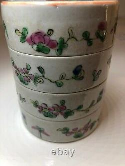 Late c19th Chinese Porcelain 4 Tier Stacking Food Box Good Condition