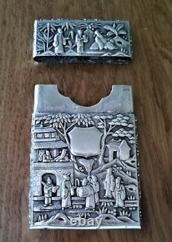 Magnificent Antique Chinese Export Silver Bamboo Card Case late 19th/early 20th