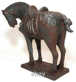 Mid-late 19th C Antique Chinese Tang Dynasty Style Cast Iron War Horse Fig/base