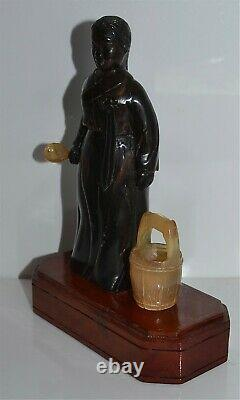 Old Chinese Carved Buffalo Horn Female Figure Late Republic Era Wood Stand