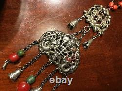 Old Chinese Silver Turquoise and Coral Pendant Necklace, late Qing, 23 1/2 L