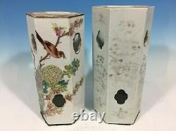 Old Pair Chinese Famille & Monochrome Grisaille Hat Stands, late 19th Century