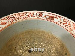 Old Pair Chinese Famille Rose Dragon Planter Jardiniere Pots, late Qing