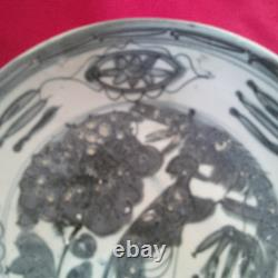Old and Antique Chinese Late Ming Swatow Blue and White Phoenix Dish