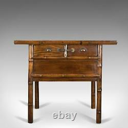 Oriental Side Table, Chinese Elm Cabinet, Late 20th Century