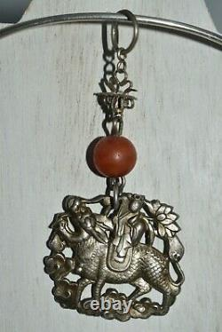 Original Late Ching Period Antique Silver Chinese Pendant with Coral Adornment