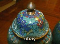 Outstanding Pair of Late 19th C Chinese Cloisonné Baluster Urns w Covers C1890