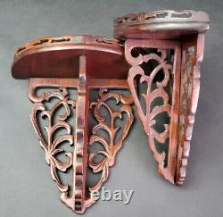 Pair Antique Chinese Ornate Wooden Wall Shelves Brackets Late 19th Early 20th C