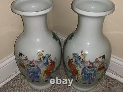 Pair Antique Chinese Porcelain Vases Late 19th C Early Republic Marked- 44cm H