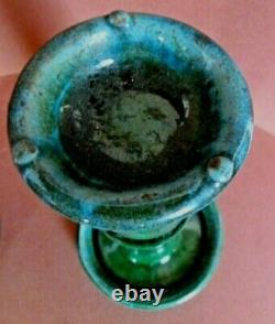 Pair Chinese Green Shiwan Pottery Oil Lamp South China Late Qing Dynasty C. 1900