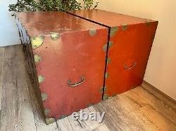 Pair Late Qing Chinese Dowry Marriage Brass Bound Red Lacquer Chest Cabinets
