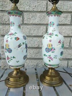 Pair Late Republic Chinese porcelain Lamps 25 inches Vases 9.5 Famille Rose