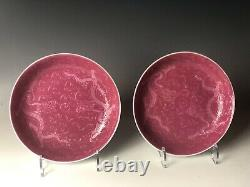 Pair Superb Chinese Porcelain Monochrome Rose Plates Late Qing Period With Mark