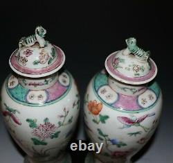 Pair of Late 19th C Chinese famille rose lidded urn jar vases 1146E