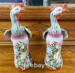 Pair of Late 19th Century Chinese Famille Rose Porcelain Phoenix Statues