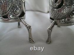 Pair of Wang Hing Chinese Export 900 Silver Pierced Bud Vases Late 19th Century