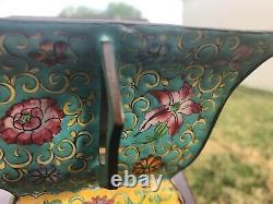 Pair of antique Chinese hand painted enamel metal bowls late 19th early 20th c