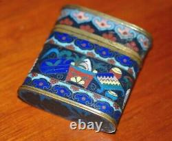 RARE ANTIQUE CHINESE CLOISONNE ENAMEL COPPER OPIUM BOX CONTAINER, Late Qing