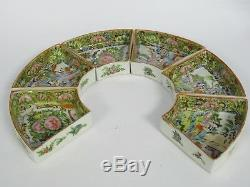 RARE ANTIQUE LATE 19 c. QING CHINESE FAMILLE ROSE MEDALLION LAZY SUSAN BOWL TRAY