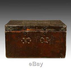 Rare Antique Trunk Leather Wood Brass Tibet Chinese Furniture Late 18th C