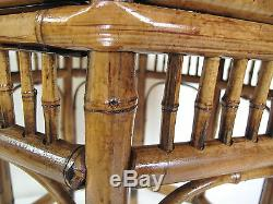 Rare Chinese Bamboo Side Table Late Qing Dynasty Hand Made with 8 Sided Top