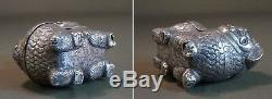 Rare Late 19th Century Chinese Export Foo Lion Foo Dog Box Coin Silver Marked