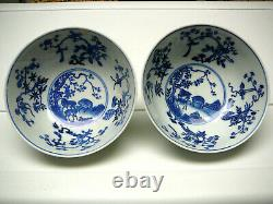 Rare pair Chinese porcelain blue white bowls Guangxu mark and period late 19th C