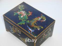SUPERB ANTIQUE LATE 19th CENTURY CHINESE CLOISONNE LIDDED BOX HARDWOOD LINED