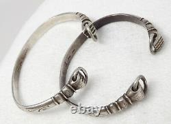 Set of 2 Antique Chinese Silver Fist Power Bangle Bracelets Late Qing Marked