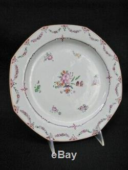 Set of 7 Late 18th Century Chinese Famille Rose Export Porcelain Plates