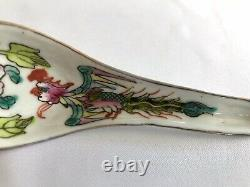 Straits Chinese color porcelain lot of 5 spoons Phoenix motif late 19th century