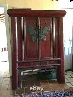 Tall Chinese Butterfly Wedding Chest circa late 1800's
