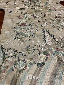 Unique Antique Late Qing Dynasty Chinese Silk Brocade 13 Dragon Court Robe