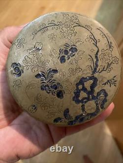 Very Rare Antique Chinese Late Qing Period Engraved Brass Ink box 19th C