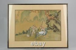 Very fine late 19th early 20th Chinese painting Ladies and Calligraphy C