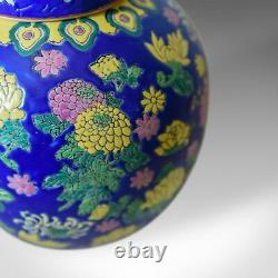 Vintage Oriental Ginger Jar, Large, Polychrome Ceramic, Mid to Late 20th Century