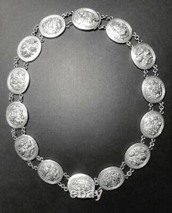 Vintage late 19th / early 20th Century Carved Silver Chinese Necklace