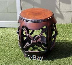 Vintage late 20th century Chinese furniture carved round drum side table / stool