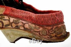 19c Fin Soie Chinoise Broderie Pieds Bandés Chaussures Red Lotus Fils D'or