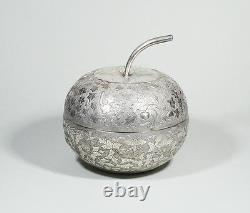 323 Gr. Late 19th C. Antique Chinese Export Silver Apple-form Tea Caddy