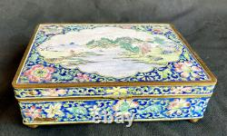 Antique Chinese Emamel Box Late Qing Or Early Republic Old China Cloisonee