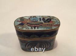 Antique Chinese Enamel Cloisonne Opium Box Safe Container Late Qing Dynasty