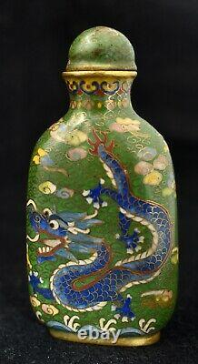 Antique Chinese Late Ching Période Cloisonne Snuff Bouteille De Penang, Malaisie