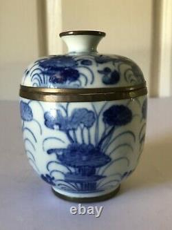 Antique Chinois Export Porcelaine Blue White Jar Lidded Fin Qing Dynasty