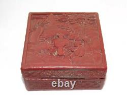 Antique Fin Du 19ème Siècle Chinois Cinnabar Red Lacquer Box Carved Figures, Rural