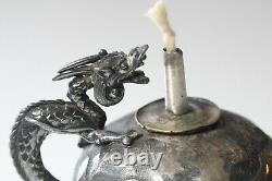 Antique Late 19thc Derby Silver Co. Argentée Chinese Style Lampe À Cigare Dragon