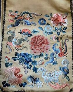 Antique Taux 19e C Dynasty Dynasty Chinois Embroided Silk Skirt Embroidery #3