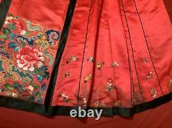 Antique Taux 19e C Dynasty Dynasty Chinois Embroided Silk Skirt Embroidery #4