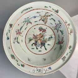 Chine Export Porcelaine Famille Rose Laver Basin/grand Bowl C 19th Late Qing
