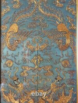 Chinois Fin 19thc Sleeve Panels Gold Couched Thread Dragon & Phoenix Broderie